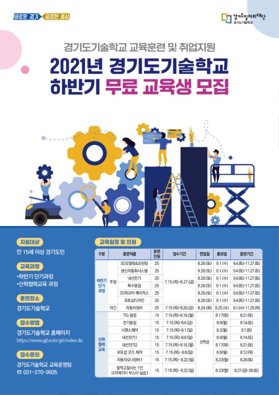 [붙임] 2021년 경기도기술학교 하반기 무료 교육생 모집 포스터.jpg